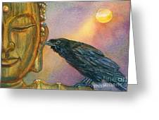 Bronze Buddha Crow Greeting Card