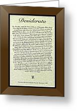 Bronze Frame Original Desiderata Poster Greeting Card