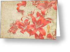 Bronze Lily Grunge Greeting Card by Lesley Rigg