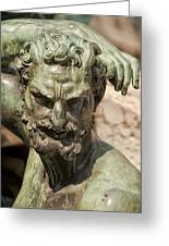 Bronze Satyr In The Fountain Of Neptune Of Florence Greeting Card