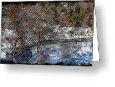 Brook And Bare Trees - Winter - Steel Engraving Greeting Card