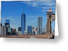 Brooklyn Bridge And Lower Manhattan Greeting Card