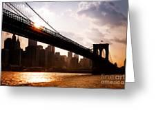 Brooklyn Bridge And Skyline Manhattan New York City Greeting Card