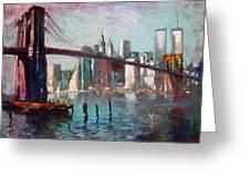 Brooklyn Bridge And Twin Towers Greeting Card