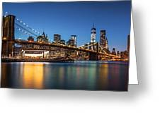 Brooklyn Bridge At Dusk Greeting Card
