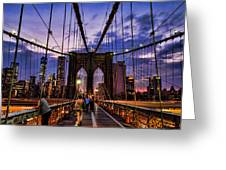 Brooklyn Bridge Evening Greeting Card