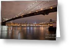 Brooklyn Bridge Lights Greeting Card