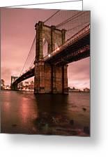 Brooklyn Bridge - Red Morning Greeting Card by Gary Heller
