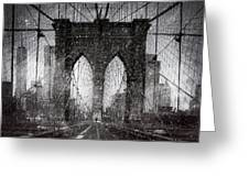 Brooklyn Bridge Snow Day Greeting Card
