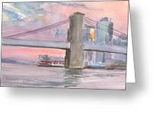 Brooklyn Bridge Sunset 2013 Greeting Card