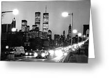Brooklyn Bridge Traffic II Dusk 1980s Greeting Card