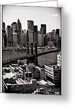 Brooklyn Bridge View In Sepia Greeting Card