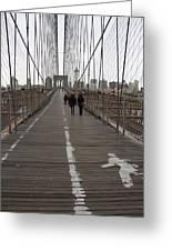 Brooklyn Bridge Walkway Greeting Card