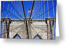Brooklyn Bridge With American Flag Greeting Card