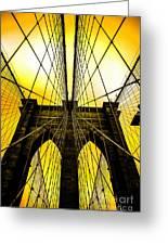 Brooklyn Bridge Yellow Greeting Card