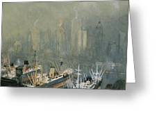 Brooklyn Harbor Circa 1921  Greeting Card by Aged Pixel