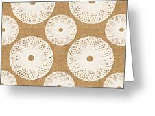 Brown And White Floral Greeting Card