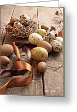 Brown And Yellow Eggs With Ribbons For Easter Greeting Card