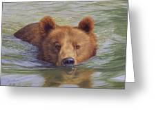 Brown Bear Painting Greeting Card by David Stribbling