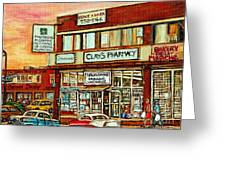 Brown Derby Van Horne Shopping Center Clay's Pharmacy Montreal Paintings City Scenes Carole Spandau Greeting Card