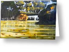 Brown Ducks Near The Waterfall Greeting Card