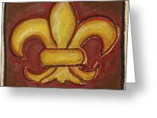 Brown Fleur De Lis Greeting Card