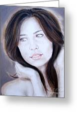 Brown Haired And Lightly Freckled Beauty Greeting Card
