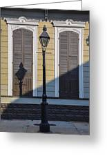 Brown Shutter Doors And Street Lamp - New Orleans Greeting Card