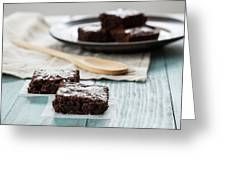 Brownies With A Wood Spoon Kitchen Art Greeting Card