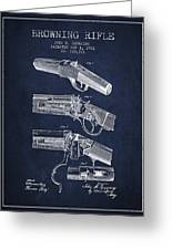 Browning Rifle Patent Drawing From 1921 - Navy Blue Greeting Card