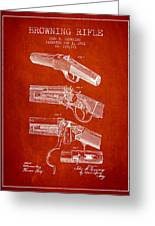 Browning Rifle Patent Drawing From 1921 - Red Greeting Card