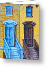 Brownstone Mural Art Greeting Card