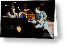 Bruce Springsteen Billy Joel And Paul Schaffer Greeting Card