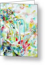 Bruce Springsteen Playing The Guitar Watercolor Portrait.1 Greeting Card by Fabrizio Cassetta