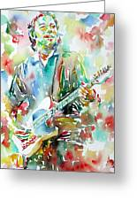 Bruce Springsteen Playing The Guitar Watercolor Portrait.3 Greeting Card
