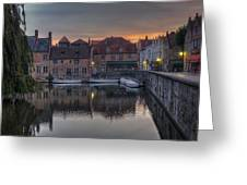 Bruges Canal Dawn Greeting Card