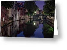 Bruges Canal Near Blind Donkey Alley  Greeting Card
