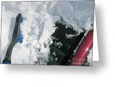 Brushing Winter Away Greeting Card