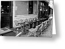 Brussels Cafe In Black And White Greeting Card