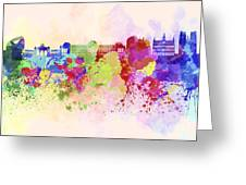 Brussels Skyline In Watercolor Background Greeting Card