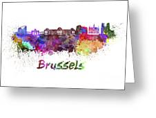 Brussels Skyline In Watercolor Greeting Card