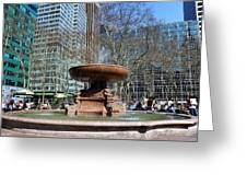 Bryant Park Fountain Greeting Card by Tony Ambrosio