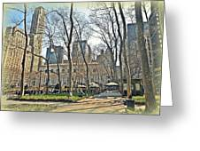 Bryant Park Library Gardens Greeting Card