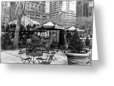 Bryant Park Tables Mono Greeting Card by John Rizzuto