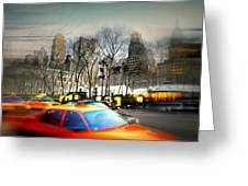 Bryant Park Taxi Greeting Card by Diana Angstadt