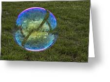 Bubble On Grass With St.johns Bridge Greeting Card