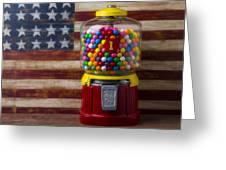 Bubblegum Machine And American Flag Greeting Card