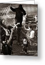Bubbles And Kids - Central Park Sunday Greeting Card