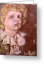 Bubbles Pastel Portrait Greeting Card