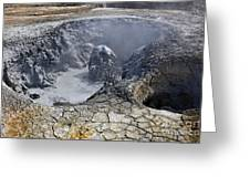 Bubbling Mud Pool At Hverir In Iceland Greeting Card
